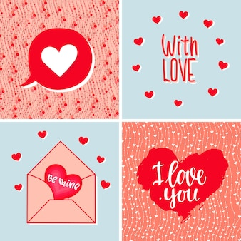 하트 문자와 텍스트 발렌타인 데이 결혼 생일이 있는 배경 세트