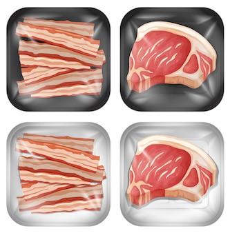 Набор бекона и мяса