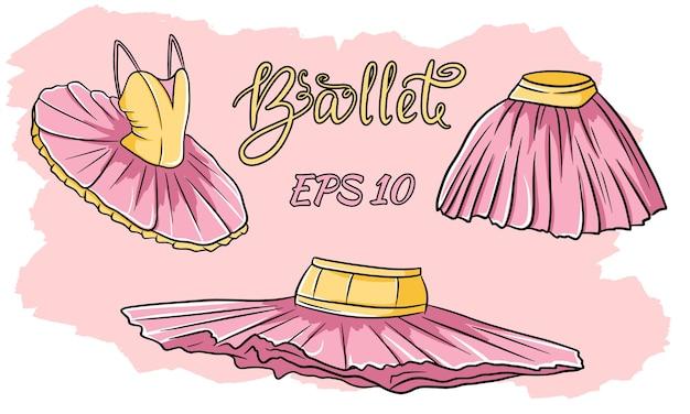 バレエ服のセット。スカート、チュチュ。