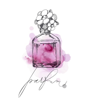 香水の美しいボトルのセットレディース香水ベクトル水彩テンプレートベクトル