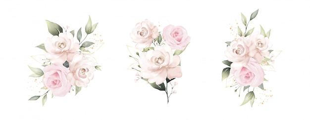 장미 꽃다발의 아름다운 수채화 그림 세트