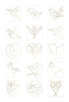 Набор коллекции логотипов птиц