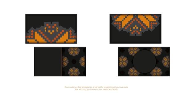 Набор черных визиток с оранжевым словенским орнаментом. готовый к печати дизайн визитки с пространством для текста и роскошными узорами.