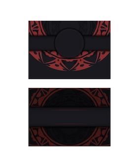그리스 장식품이 있는 검은색 명함 세트입니다. 텍스트와 빈티지 패턴을 위한 공간이 있는 인쇄용 명함 디자인.