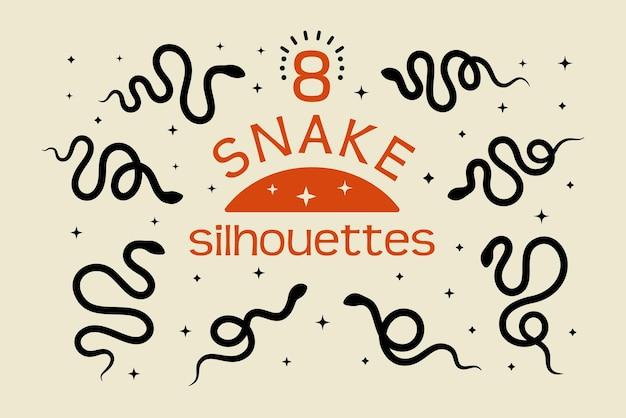 심플한 미니멀리즘 스타일의 블랙 스네이크 실루엣 세트. 벡터 흰색 배경에 고립 된 그림입니다. 로고, 패턴, 포스터, 티셔츠 인쇄를 만드는 뱀의 아이콘