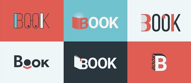 책 로고, 서점 로고 개념의 집합입니다. 도서관, 평면 디자인 스타일의 서점에 대한 지식, 학습 및 교육의 상징. 책이 있는 서점 로고. 벡터 일러스트 레이 션.
