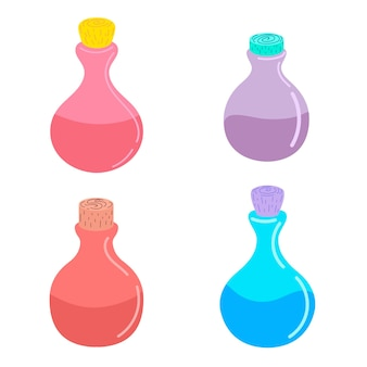 白い背景の上の魔法のポーションとボトルのセット。ベクトルイラスト