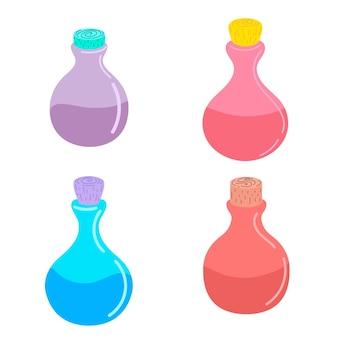 魔法の魔法のポーションが入ったボトルのセット。ベクトルイラスト