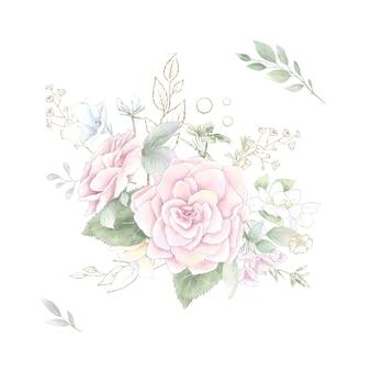 繊細なバラと蘭の花束のセット。水彩イラスト。