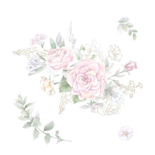 繊細なバラと蘭の花束のセット