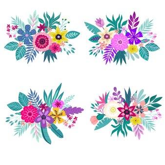 熱帯の花のハイビスカスの花束のセット。夏の背景のコンセプト。熱帯の花と夏の背景。テンプレートベクトル。