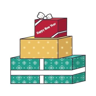 お菓子とギフトが入った箱のセット。年末年始、クリスマス、冬休みのお祭りデコレーション