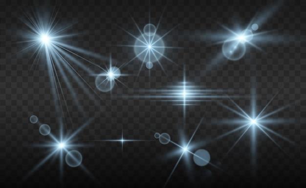 Набор ярких красивых звезд. световой эффект. яркая звезда. красивый свет для иллюстрации.