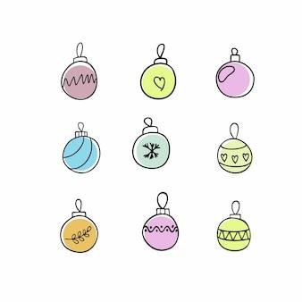 Набор ярких новогодних шаров, украшений и игрушек на новый 2021 год и рождество. атрибуты и символы новогоднего праздника, вечеринки, веселья. векторная иллюстрация разноцветные каракули.