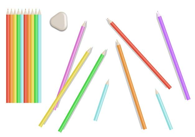 明るい色鉛筆のセット。孤立したイラスト。