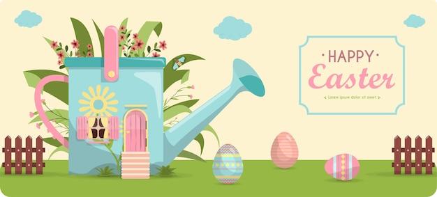 밝은 색으로 칠해진 부활절 달걀 세트와 꽃 벡터에 있는 귀여운 작은 집