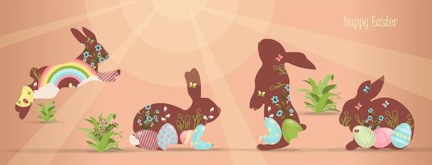 밝은 색으로 칠해진 부활절 달걀과 토끼 벡터 세트, 행복한 부활절 소원