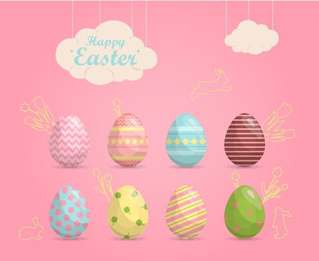 밝은 다채로운 페인트 부활절 달걀 벡터 일러스트 레이 션 행복 한 부활절 판매 평면 디자인의 집합