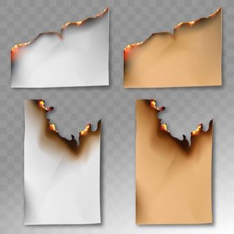 焦げた紙のセット。ベクトルの現実的なテンプレート