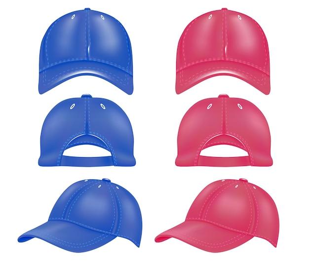 Набор кепок под разными углами красного и синего цветов. дизайн кепок и бейсболок, вид сбоку, сзади, вид спереди, изолированные на белом фоне. векторная иллюстрация