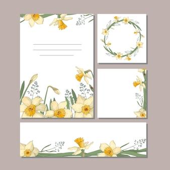 花とカードのセット。夏のデザインにぴったりの水仙、葉、小枝。