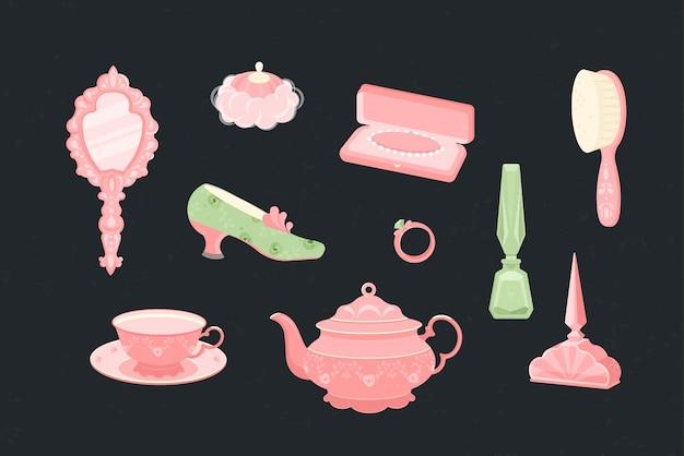 女王様やお姫様のケアアイテム一式。鏡、ヘアブラシ、香水、パールビーズの入った箱、指輪、靴、パフ、ヘアブラシ。やかんとピンクのティーマグも。フラットスタイルのイラスト。