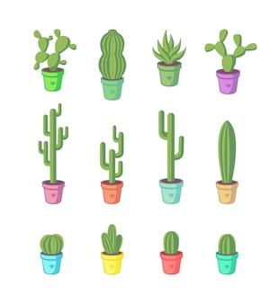 Набор мультяшных кактусов.
