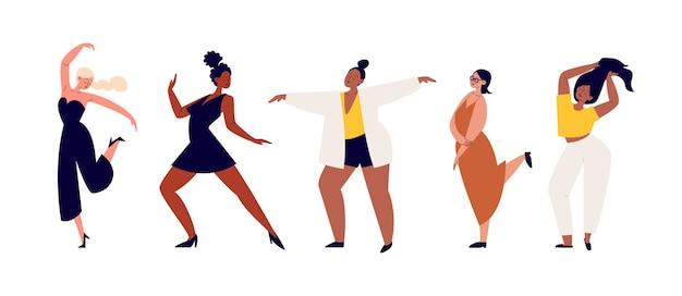 カジュアルな服を着た漫画の女性キャラクターのセットがダンスで動いています