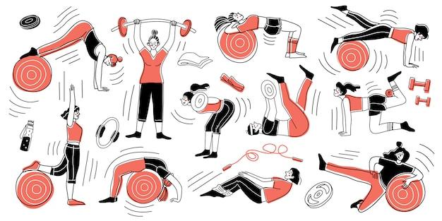 ジムで練習している女の子のキャラクターのセット。フィットネスの概念。運動トレーニング。手描きのコレクション。ベクトルイラスト