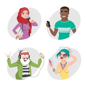 휴대폰으로 캐릭터 세트. 고급 사용자를위한 전자 가제트. 현대 사회의 모바일 사람들.