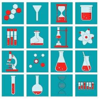 다양한 실험 유리 제품을 보여주는 화학 실험실 및 도식 아이콘 세트