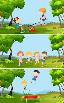 공원에서 노는 아이들의 집합