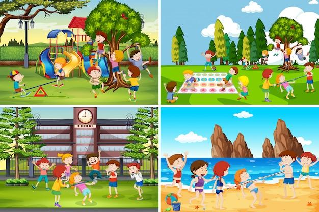 異なる場所で遊ぶ子供たち