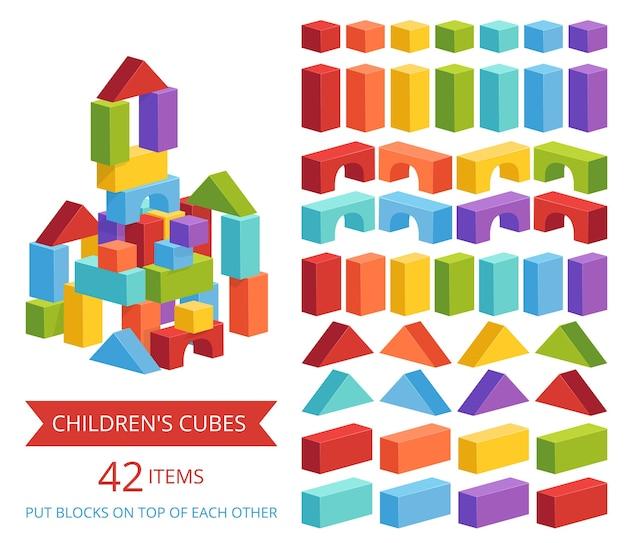 Набор детских кубиков разных цветов для изготовления замков и башен. детская развивающая игра. отдельный на белом фоне.