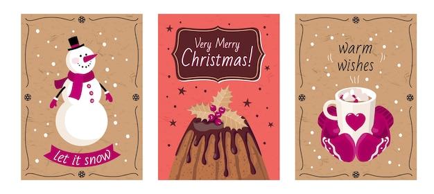 눈사람, 케이크 장갑, 인사와 함께 크리스마스 카드 세트.