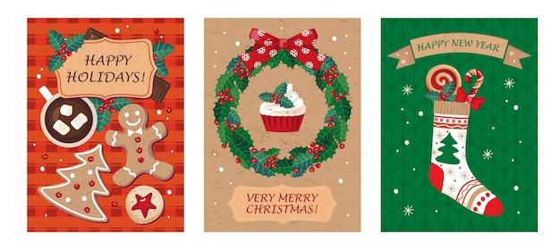 미 슬 토 화 환, 양말, 인사와 함께 크리스마스 카드 세트.
