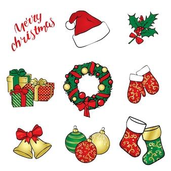 クリスマスの飾りとアクセサリーのセット。