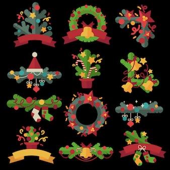 Набор рождественских элементов дизайна в плоском стиле.