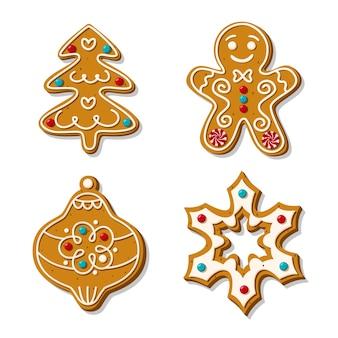 クリスマスのジンジャーブレッドクッキーのセット。自家製ベーキングの。スノーフレーク、ジンジャーブレッドマン、クリスマスツリー、白い背景に分離された砂糖釉薬のおもちゃ。漫画のスタイル..
