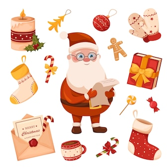 Набор новогодних предметов дед мороз елка праздничные игрушки сладости и новогодние украшения
