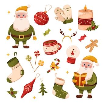 Набор елочных игрушек и украшений чашка кофе и варежки дед мороз в зеленом костюме