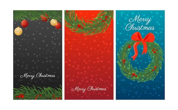 お祝いの花輪と装飾が施されたクリスマスの縦長のバナーのセット。ベクトルイラスト。