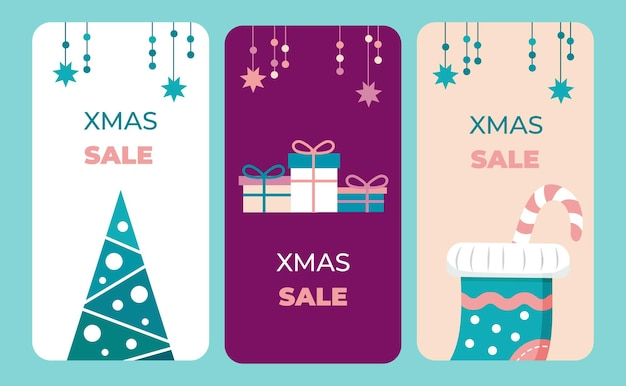 フラットなデザインと単一の配色ベクトルイラストのクリスマス垂直バナーのセット