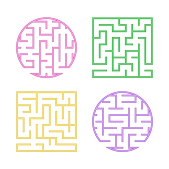 Набор цветных лабиринтов для детей. квадратный круглый лабиринт.