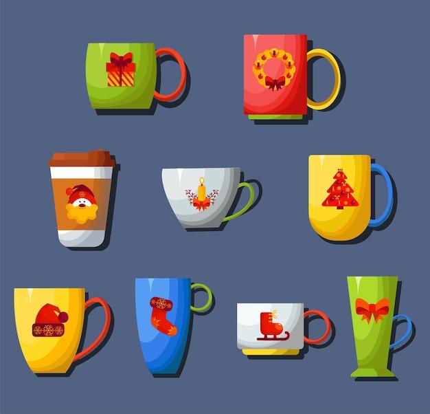色付きのマグカップのセット。飲み物用の取っ手が付いたかわいい食器。お祝いのクリスマスマグカップ。