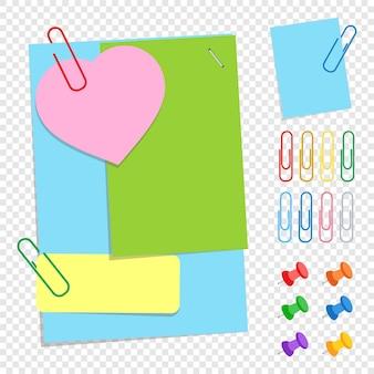 Набор цветных офисных липких листов разной формы, кнопок и зажимов.