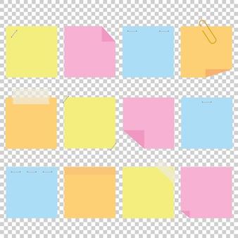 Набор цветных офисных желтых наклеек.