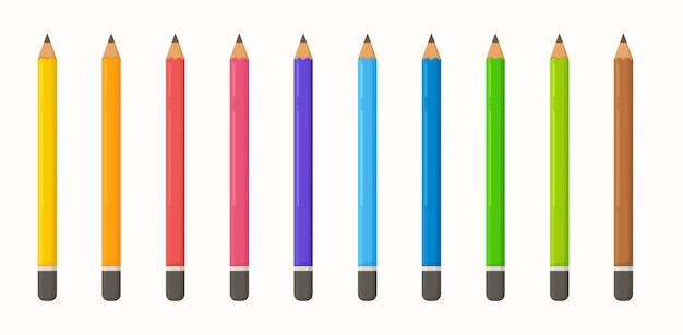 色鉛筆のセット。描画コースのイラスト。色とりどりのクレヨン。