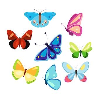 만화 스타일의 화려한 나비 세트 무늬 날개 벡터 곤충의 컬렉션