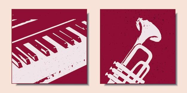 Набор красочных постеров с музыкальными инструментами, такими как фортепиано и саксофон современного искусства